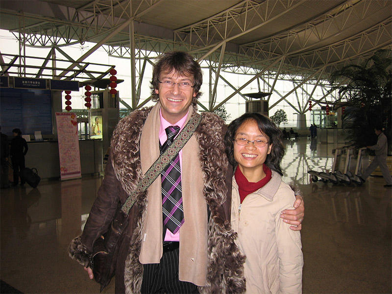 2004 at Ningbo airport,customer from ATHERSTONE UK with Winnie